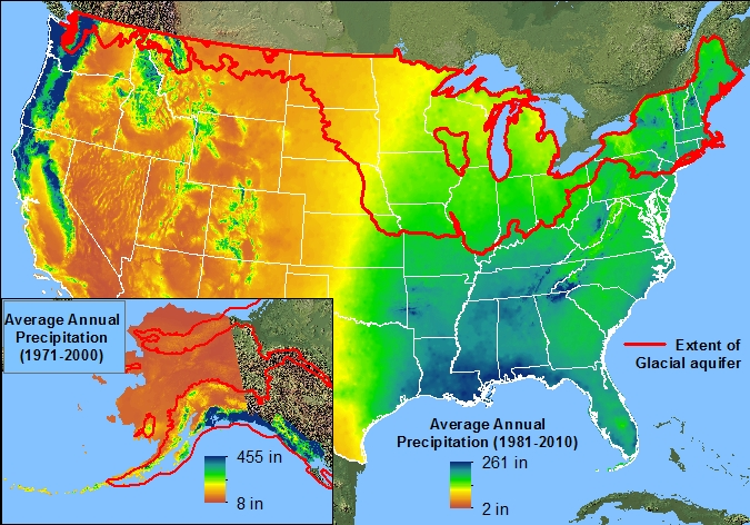 BackgroundGlacial Aquifer System Groundwater Availability Study - United states precipitation map