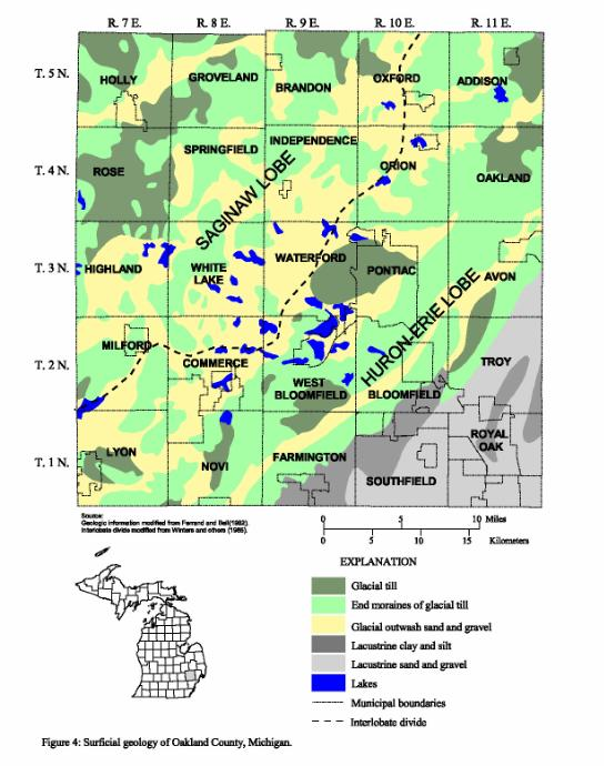 Sites Of U S Geological Survey Ground Water Quality Sampling In Oakland County Michigan